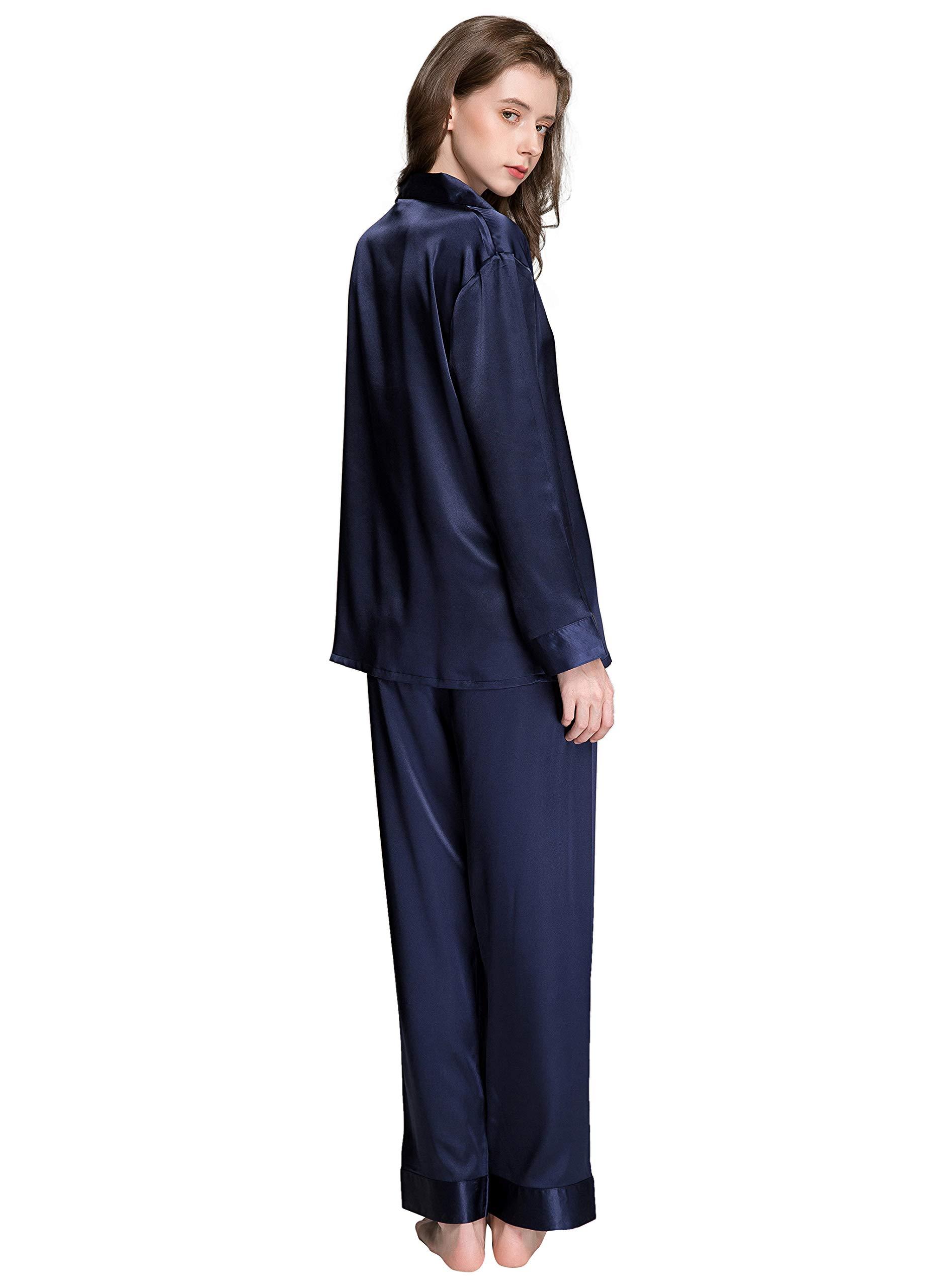 Lonxu Womens Silk Satin Pajamas Set Sleepwear Loungewear XS~3XL