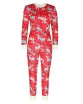 BONESUN Women's Printed Pajamas Adult Onesies Sleepwear Long Sleeve Jumpsuits Loungewear