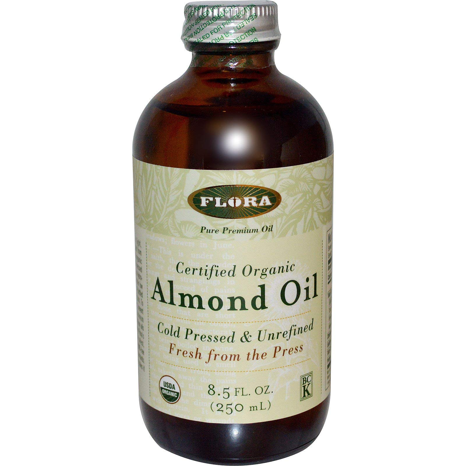 Organic Sweet Almond Oil 8.5 oz - 100% Fresh Pure Oil for Cooking, Hair Care, & Moisturizing Skin - Artisan, Unfiltered, & Unrefined - by Flora