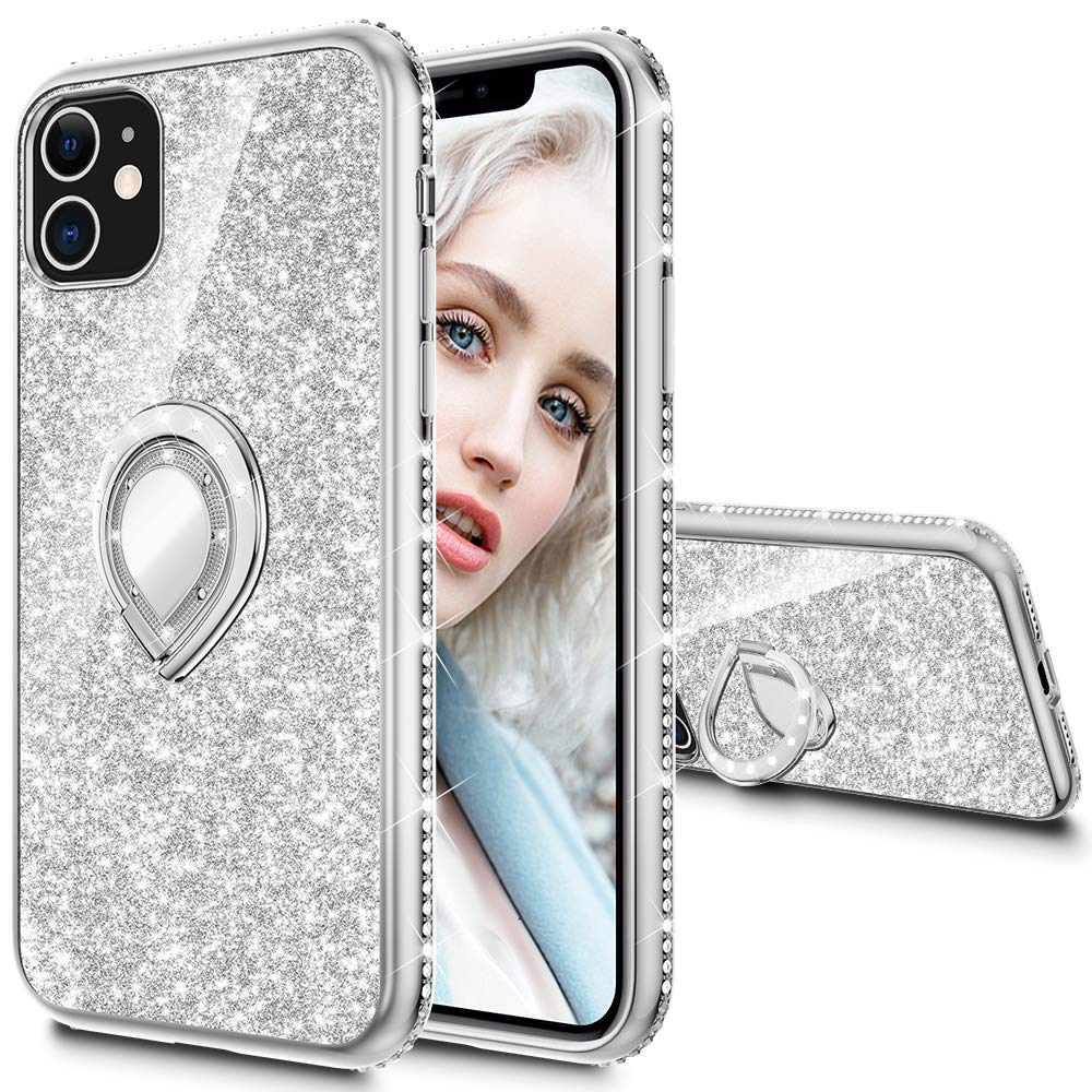 Maxdara Case for iPhone 11 Case Glitter Ring Kickstand Case for Girls Women with Bling Sparkle Diamond RhinestoneStand Holder Protective Case for iPhone 11 6.1 inches (Silver)