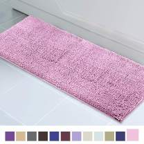 ITSOFT Non Slip Shaggy Chenille Soft Microfibers Runner Large Bath Mat for Bathroom Rug Water Absorbent Carpet, Machine Washable, 21 x 59 Inches Pink