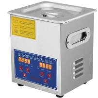 Mophorn Time 2L Ultrasonic Cleaner Jewelry Eyeglass Commercial Industrial Digital Heater Timer Basket, Silver