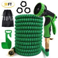 PiscatorZone Garden Hose 50ft Expandable Flexible Water Hose with 9- Pattern Spray Nozzle,Extra Strength Fabric Protection Collapsible Hose for Gardening Lawn Car Pet Washing