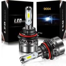 9004 HB1 LED Headlight Bulbs Conversion Kit, DOT Approved, AUSI D6 Series High Low Beam Adjustable Headlamp with Fan Mini Size - 6000LM 6000K Xenon White (2PCS)