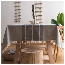 Jiuhong Stitching Tassel Tablecloth Heavy Weight Cotton Linen Fabric Dust-Proof Table Cover for Kitchen Dinning Tabletop Decoration (Grey, Square, 55x55 inch)