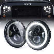 """Xprite 7"""" Inch LED Halo Headlights for Jeep Wrangler JK TJ LJ 1997-2018(DOT Approved),CREE LED Chip, 90W 9600 Lumens Hi/Lo Beam with Halo Ring Angel Eyes DRL"""