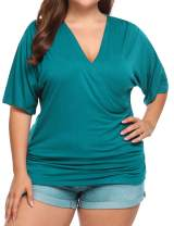 IN'VOLAND Womens Plus Size Tops V Neck Wrap Short Sleeve Shirts Casual Loose Dolman Top Tunic Blouses