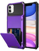 Vofolen Case for iPhone 11 Case Wallet 4-Card Holder ID Slot Flip Door Hidden Pocket Anti-Scratch Dual Layer Hybrid TPU Bumper Armor Protective Hard Shell Back Cover for iPhone 11 6.1 inch (Purple)
