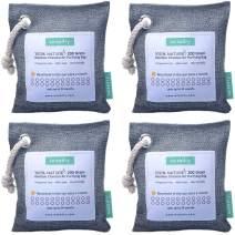 wisedry 200g x 4 Packs Air Purifying Bamboo Charcoal Bags 100% Natural Charcoal Odor Eliminators, Home Air Freshener Bag, Closet Deodorizer, Moisture, Odor Absorber Bag