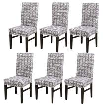 Grey Dining Room Chair Covers Stretch Removable Washable Chairs Protector Seat Cover for Bar Kitchen Banquet Party Wedding (6, BTC03)