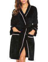 Ekouaer Women's Short Sleeve Robe Cotton Lightweught Knee Length Kimono Bath Robe