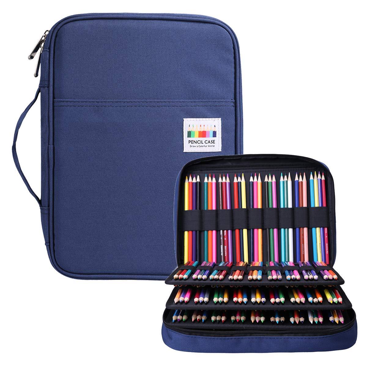 BOMKEE Pencil Case 220 Slots Colored Pencils Gel Pen Organizer Bag with Zipper for Student Kids Adults Artist Handy Glitter Gel Pens, Refills, Waterproof Coloring Holder Pencils Case(Blue)