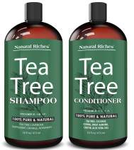 Natural Riches Tea Tree Shampoo and Conditioner Set with 100% Pure Tea Tree Oil, Anti Dandruff for Itchy Dry Scalp, Sulfate Free, Paraben Free - 2 Bottles 16fl oz Each