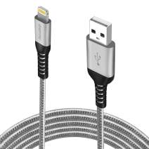 iPhone Charger 6ft (4-Pack), Apple MFi Certified Lightning Cable, Braided Nylon High-Speed iPhone Cable for iPhone 11/11 Pro/11 Pro Max/X/XS/XR/XS Max/8/7/6/5S/SE, AirPods/Pro, iPad Mini/Air - Grey