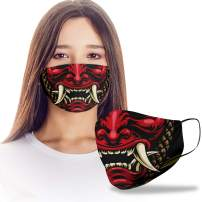 Japanese 3D Samurai Mouth Cartoon Design Print Cloth Reusable Washable Face Mask Women Men for Dust Protection