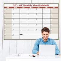 Jumbo XL 32x48 Dry Erase Monthly Calendar for Wall Undated (Brown), Reversible Wet and Dry Erasable Monthly-Weekly Planner, Laminated Wall Posters Calendar Reusable, Shipped Rolled Not Folded