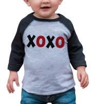 7 ate 9 Apparel Kids XOXO Happy Valentine's Day Grey Raglan