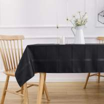 VEEYOO Rectangle Spillproof Table Cloth - 60 x 84 Inch Black Striped Tablecloth in Washable Polyester - Stain Resistant Wrinkle Free Tablecloth for Dinner Party Restaurant