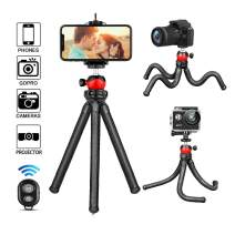 Phone Tripod, Flexible Cell Phone Stand Portable Adjustable Holder with Wireless Remote and Universal Clip 360°Ball Joint Compatible with iPhone/Android/DSLR/GoPro Camera