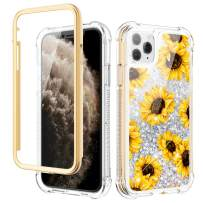 Caka Case for iPhone 11 Pro Case Glitter Liquid Flower Full Body Protection with Built in Screen Protector for Girls Women Girly Bling Protective Case for iPhone 11 Pro 5.8 (Sunflower)
