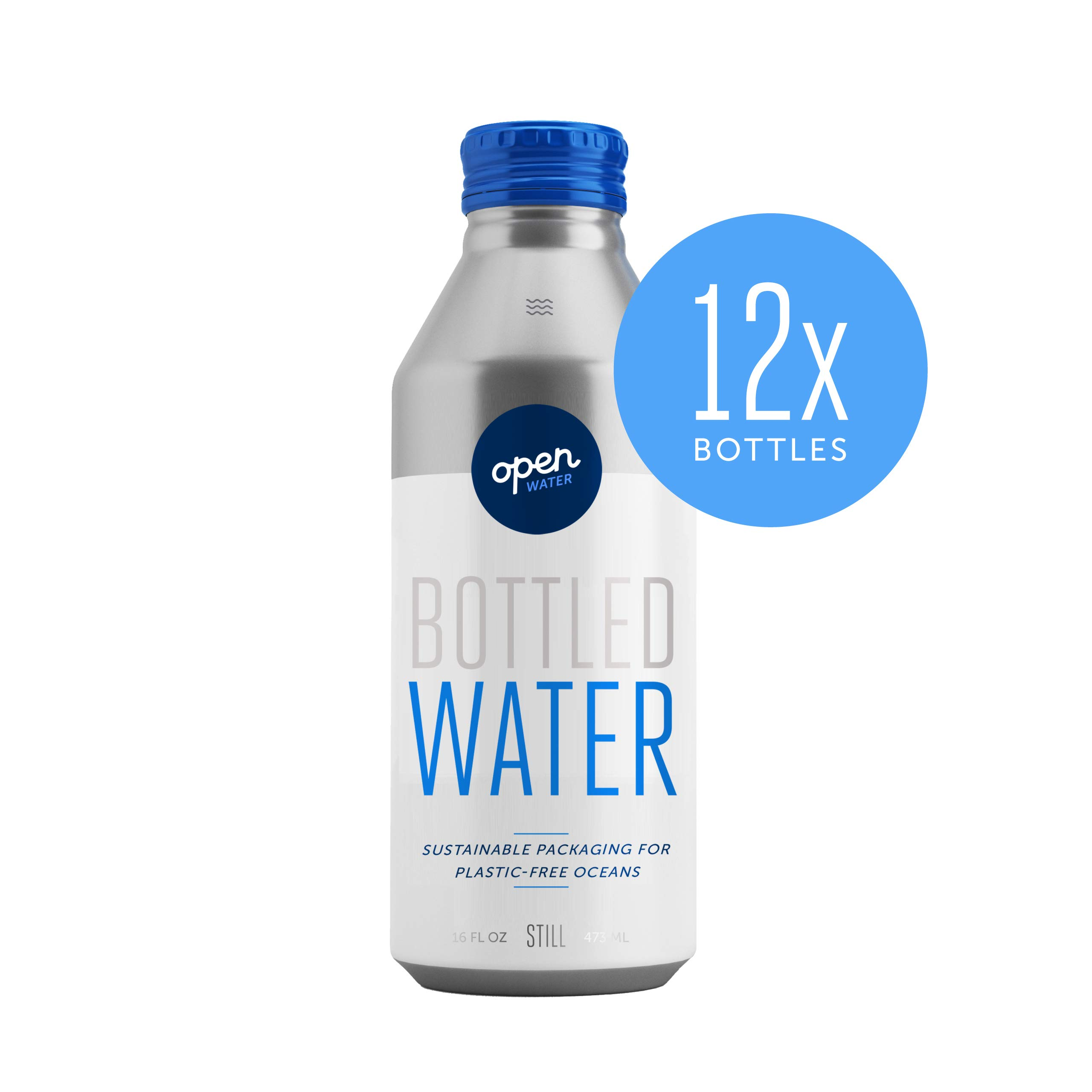 Open Water Still Bottled Water with Electrolytes in 16-oz Aluminum Bottles (1 Cases, 12 bottles - Still) | BPA-free and Eco friendly