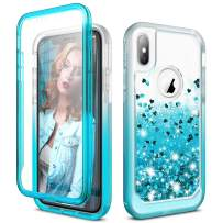 SURITCH Case for iPhone X/iPhone Xs, [Built-in Screen Protector] Quicksand Bling Liquid Glitter Full-Body Protection Rugged Bumper Shockproof Cover for iPhone X/iPhone Xs 5.8 Inch(Semi-Blue)