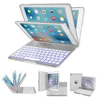 IEGROW iPad Keyboard Case for iPad 6th Gen (2018)- iPad 5th Gen (2017)- iPad Pro 9.7- iPad Air- iPad Air 2-135 Degree Rotation- 7 Color Backlits- Wireless Bluetooth Cover with Keyboard (Silver-F8AS)