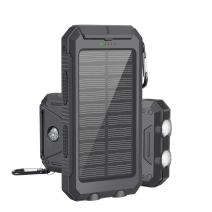 Solar Powered Portable Charger, LSXD Solar Power Bank 10000mAh Waterproof, Dual USB External Backup Battery Pack with 2 Flashlights Carabiner and Compass,Dark Black