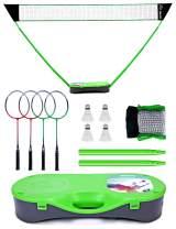 Peak Fits Portable Badminton Net Set,Folding Volleyball Badminton Net,4 Professional Graphite Badminton Racket,4 Shuttlecocks,with Freestanding Base.Family Sports,Kids Gift,Backyard Setting Game