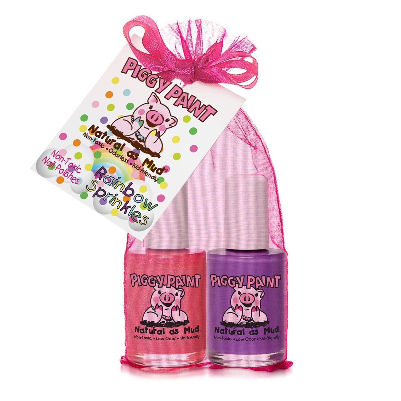 Piggy Paint Non-Toxic Nail Polish, Rainbow Sprinkles, 2 Polish Gift Set
