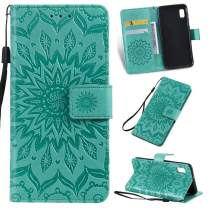 Cmeka 3D Sunflower Wallet Case for Samsung Galaxy A10E with Credit Card Slots Holder Magnetic Closure Slim Flip Leather Kickstand Function Protective Case Mint Green
