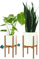 Fox & Fern Mid Century Plant Stand - Bamboo Adjustable Planter 8 to 12 Inch in Width – EXCLUDING White Ceramic Pot – Retro, Modern, Expandable Raised Plant Holder for Indoors – Easy Assembly