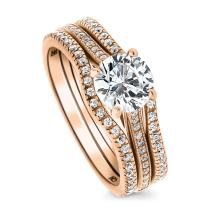 BERRICLE Rose Gold Plated Sterling Silver Round Cubic Zirconia CZ Solitaire Engagement Wedding Ring Set 1.45 CTW