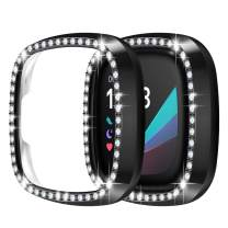 Protector Case for Fitbit Sense/Versa 3-2 Pack Crystal Diamonds Frame Bumper Bling Case Cover(No Screen Protector) Protective PC Plated Hard Cover for Fitbit Sense/Versa 3 Smartwatch, Black