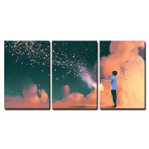 "wall26 - 3 Piece Canvas Wall Art - Man Holding a Cage with Floating Shinning Star Dust,Illustration Painting - Modern Home Decor Stretched and Framed Ready to Hang - 16""x24""x3 Panels"