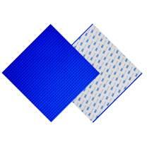 "BOROLA Peel Stick Building Base Block Plate - 10"" x 10"" in Variety Color, Compatible Most Major Brands Building Bricks (2-Pack, Blue)"