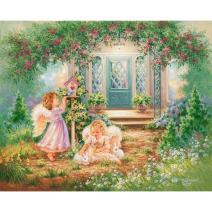 Adarl DIY Painting Paint by Numbers Kit for Adult, Garden Angel House with Brushes Paint for Adults Painting on Canvas