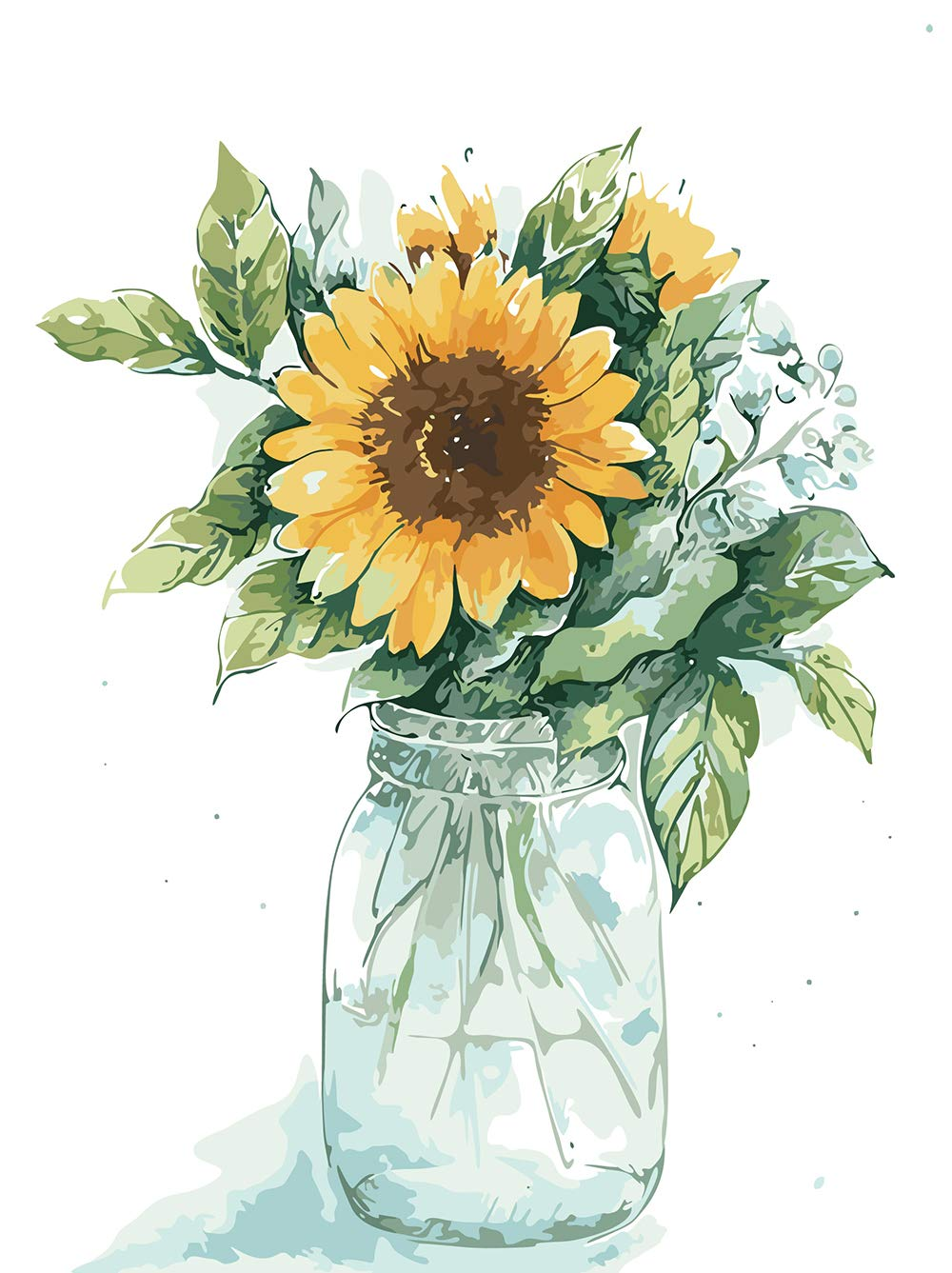 """Various Flower and Vase Series Paint by Numbers for Adults Kids Beginners Easy Acrylic on Canvas 16""""x20""""with Paints and Brushes, Sunflowers and Vase02(Without Frame)"""