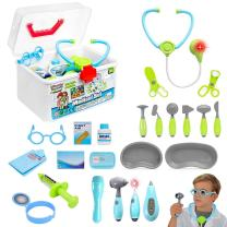 Liberty Imports Kids Doctor Set - 24 Pieces Role Play Nurse Medical Box Kit with Electronic Stethoscope and Pretend Play Accessories - Educational Gift for 3, 4, 5, 6 Year Old Boys, Girls