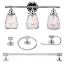 Globe Electric 51416 Lauzon 5-Piece All-in-One Bathroom Set, 3 Vanity Light with Watered Shades, Bar, Towel Ring, Robe Hook, Toilet Paper Holder, Chrome with Wattered Glass