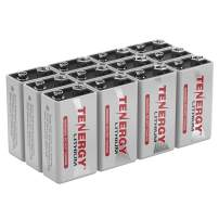 Tenergy 9V Lithium Batteries, 1200mah Non-Rechargeable Batteries,10 Years Shelf Life Lithium 9 Volt Batteries - 12 Pack