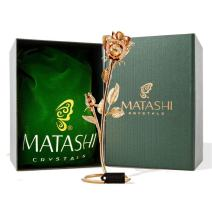 """Matashi 7.5"""" 24K Gold Plated Long Stem Rose Flower with Premium Crystals Home Decor Showpiece for Living Room Gift for Girlfriend Wife Valentine's Day Christmas Mother's Day Birthday"""
