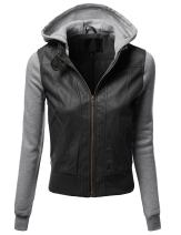 Awesome21 Women's Solid Fleece Contrast Long Sleeves Faux Leather Hoodie Jacket