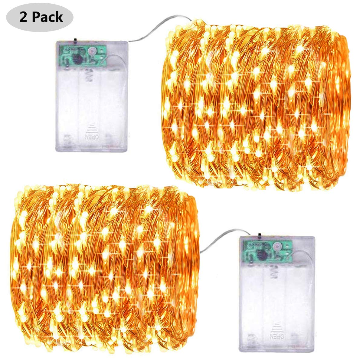Battery Operated Fairy String Lights, Led Mini String Lights 50 LED 16.5 FT Battery Powered Sliver Wire Starry Fairy Lights for Indoor Outdoor Wedding Home Garden Party Decoration (Warm White)
