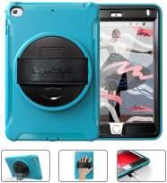 BATYUE iPad Mini 4 Case/iPad Mini 5 Case for Kids, [Full-Body] & [Shock Proof] with 360° Rotating Kickstand+Hand Strap Hybrid Armor Protective Case for iPad Mini 5th/ 4th Generation Case (Light Blue)