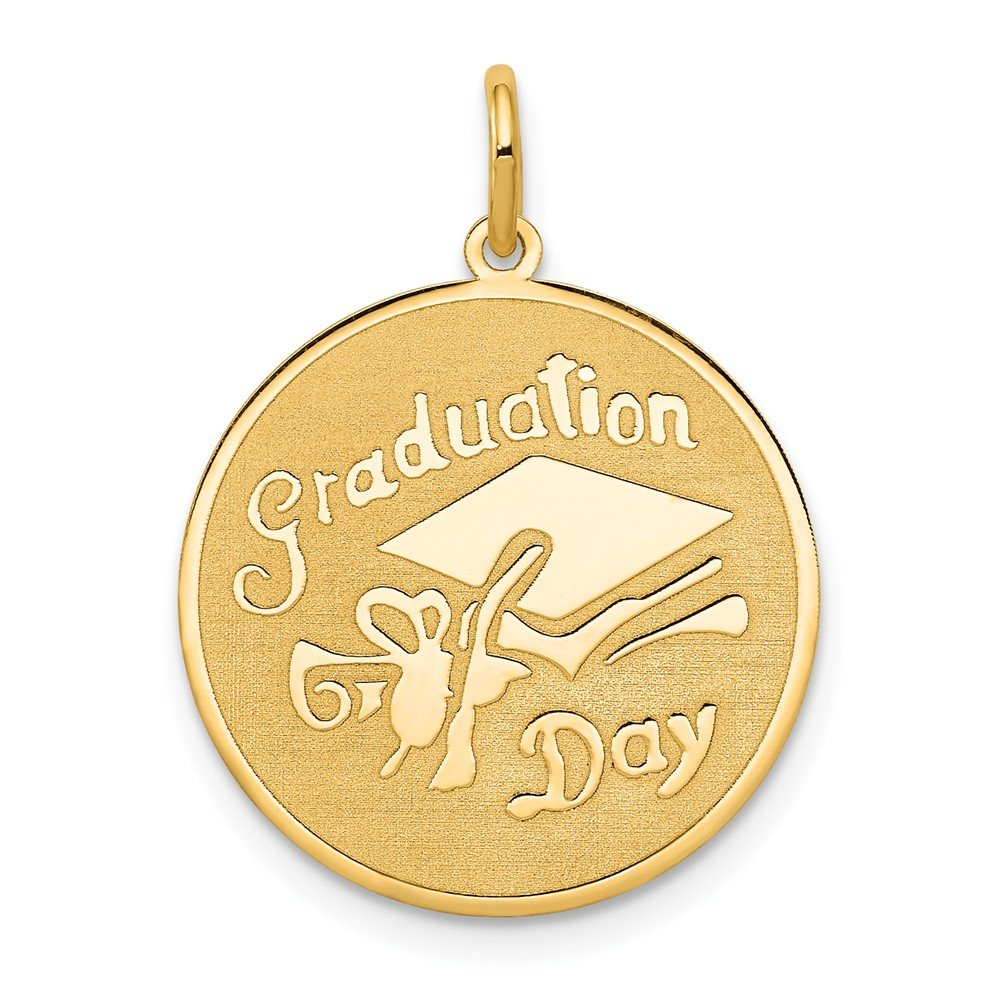 14k Yellow Gold Graduation Day Disc Pendant Charm Necklace Fine Jewelry For Women Gifts For Her