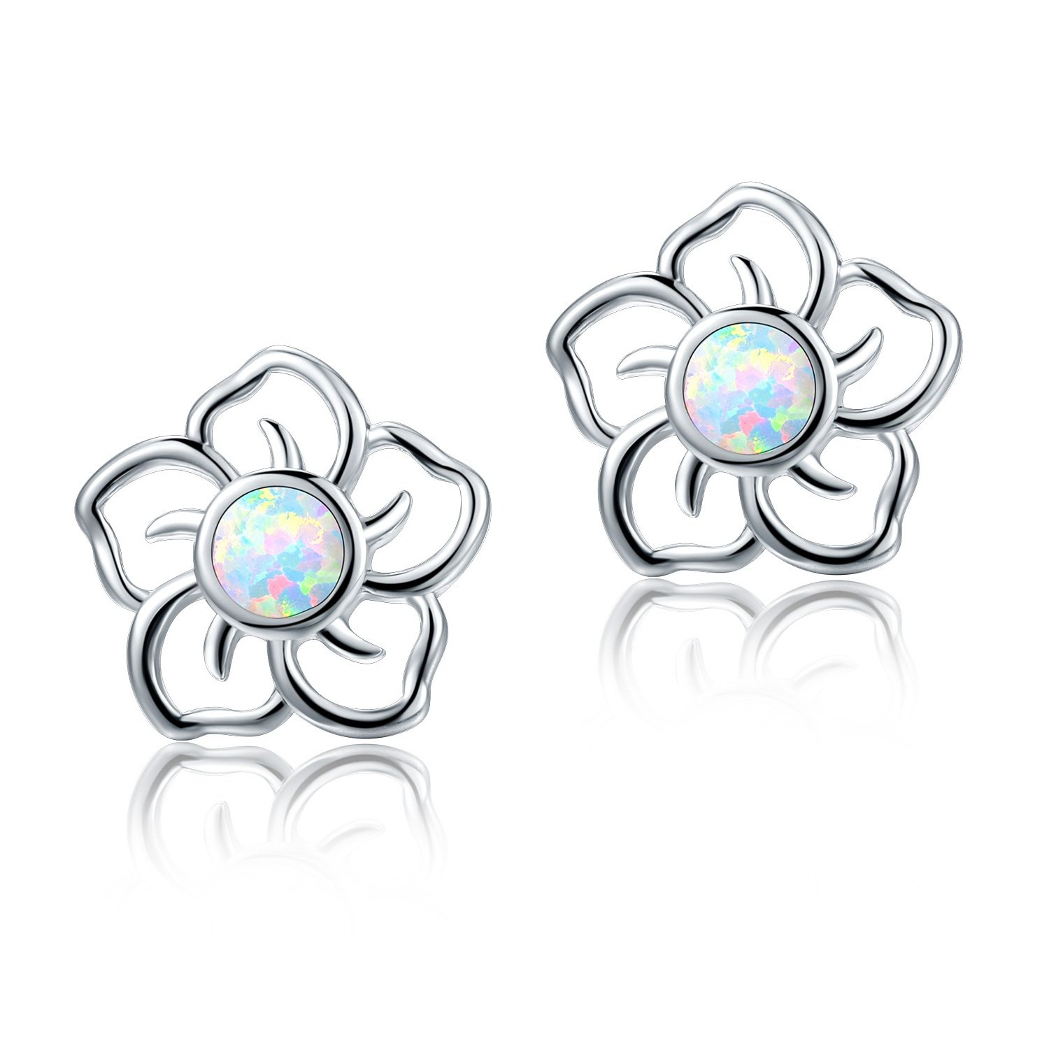 White Gold Plated Flower Opal Stud Earrings Hypoallergenic Jewelry Gift for Women