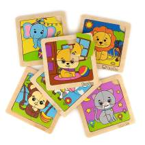 Bimi Boo Animal Wooden Jigsaw Puzzle for Preschool Kids 2 Years Old and Up (Set of 6 Learning 4 Pieces Toddler Puzzles, Safe and Durable Wood Construction)