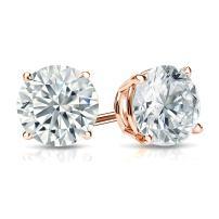 14k Gold Round Lab Grown Diamond Stud Earrings (1 3/8 to 2cttw, I-J, VS1-VS2, IGI Certified) 4-Prong Basket, Screw-backs by Diamond Wish