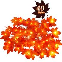 SOMOYA Fall Decorations Maple Leaves Lighted,40 LED 20Ft Thanksgiving Decorations Fall Lighted Garland Battery Operated for Outdoor Indoor Halloween,Thanksgiving,Christmas Party Decor